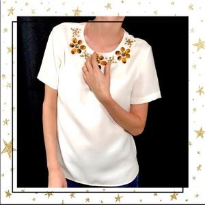 Ann Taylor Embellished Short Sleeve cream blouse